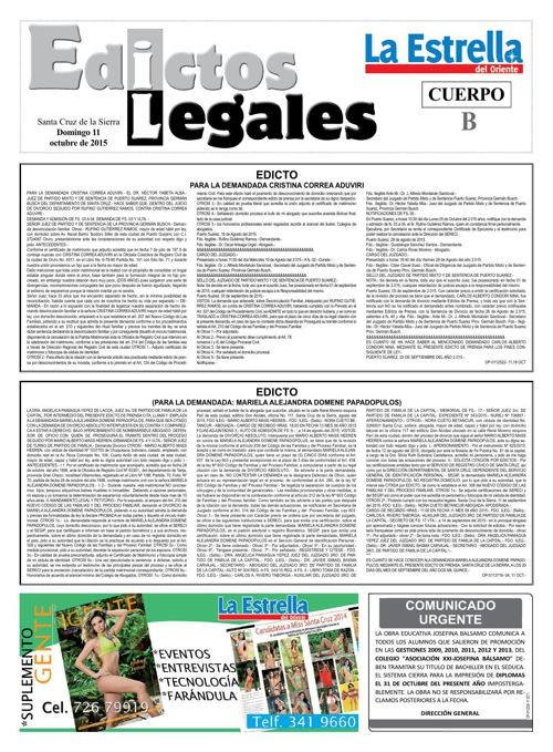 Judiciales 11 domingo - octubre 2015