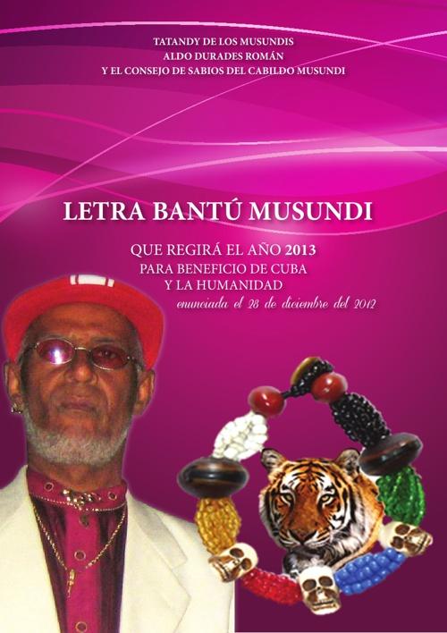 LETRA BANTÚ MUSUNDI QUE REGIRÁ EL AÑO 2013