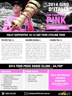 Tri Travel's 2014 Tours