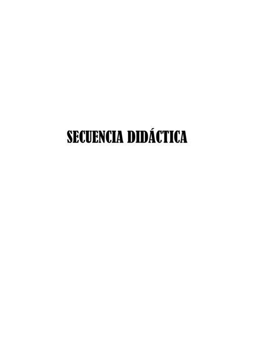 SECUENCIA DIDÁCTICA -PRIMERA CARÁTULA-