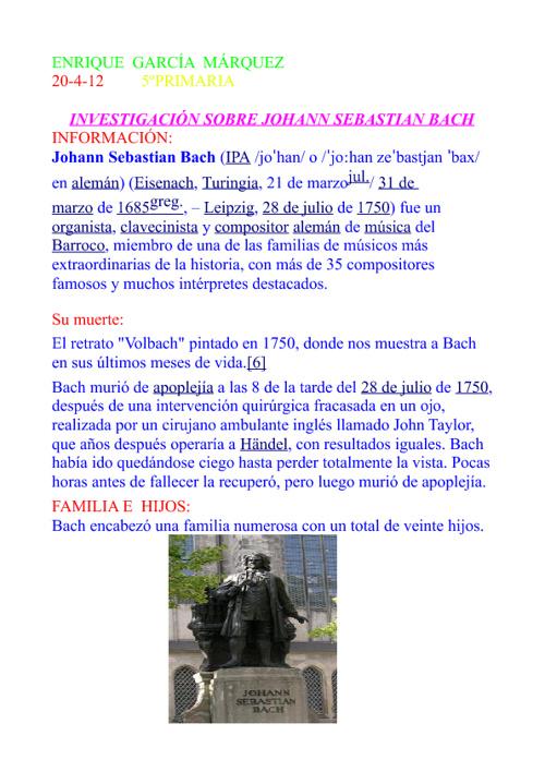INVESTIGACIÓN SOBRE JOHANN SEBASTIAN BACH
