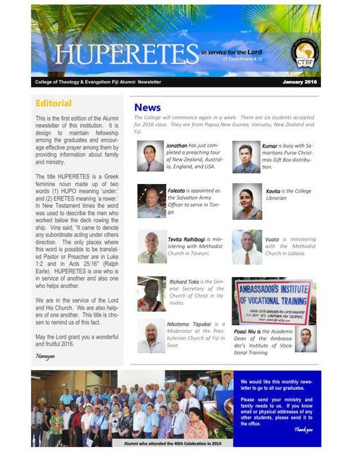 Alumni News Letter