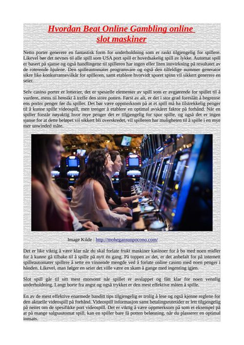 Hvordan Beat Online Gambling online slot maskiner