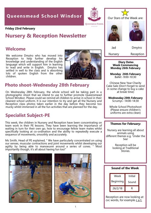 Nursery and Reception News 23rd February