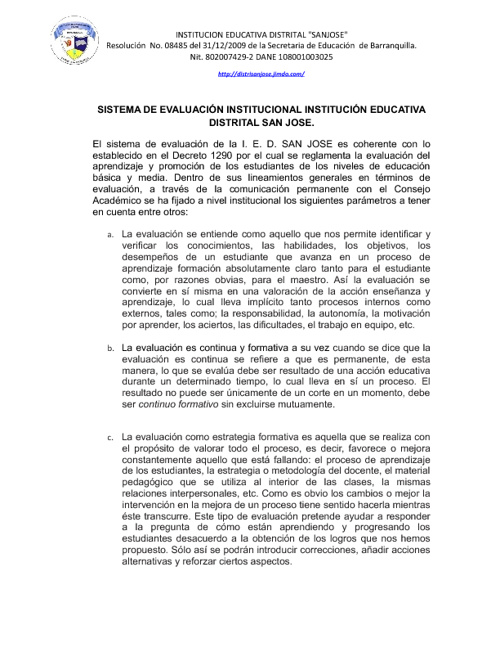 SISTEMA   INSTITUCIONAL DE EVALUACION   IED  SAN JOSE