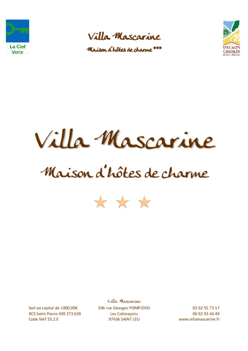 Descriptif Villa Mascarine***