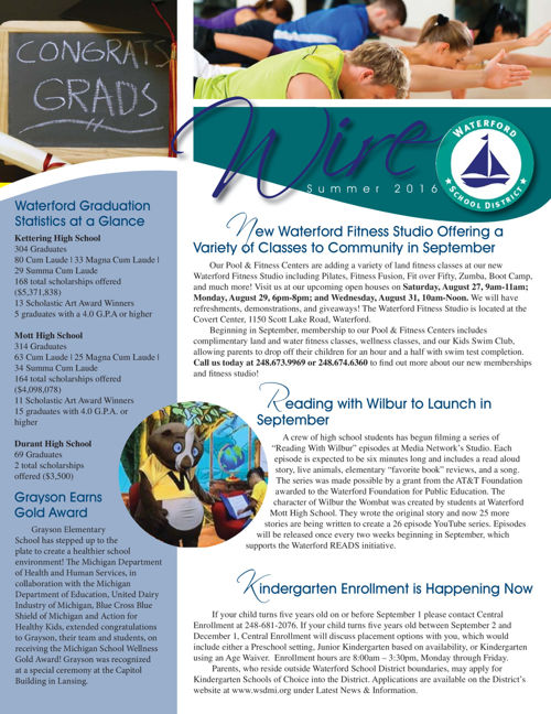 Waterford School District Wire Newsletter, Summer 2016