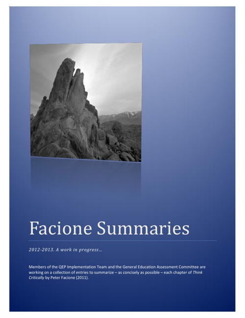 Facione Summaries