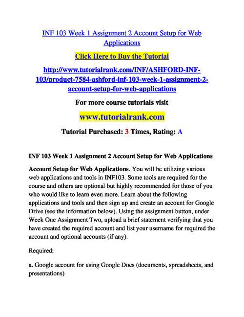 INF 103 Course Success Begins / tutorialrank.com