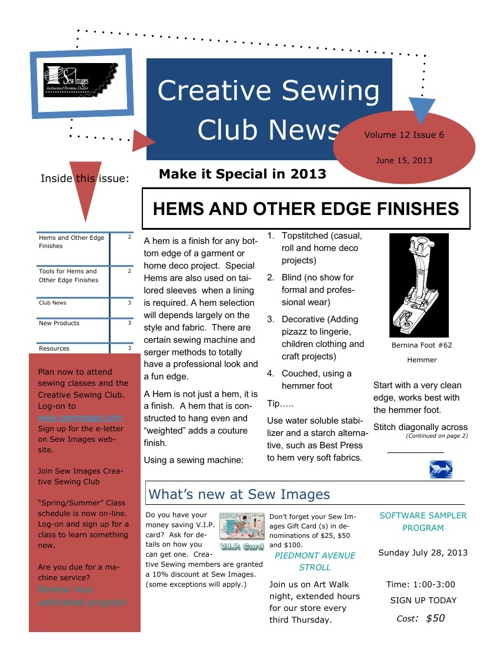 Sew Images Creative Sewing Club