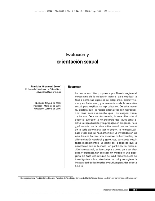 orientacion sexual evolucion