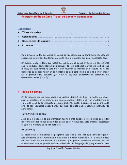 Tema 3: tipos de datos y operadores en Java archivo
