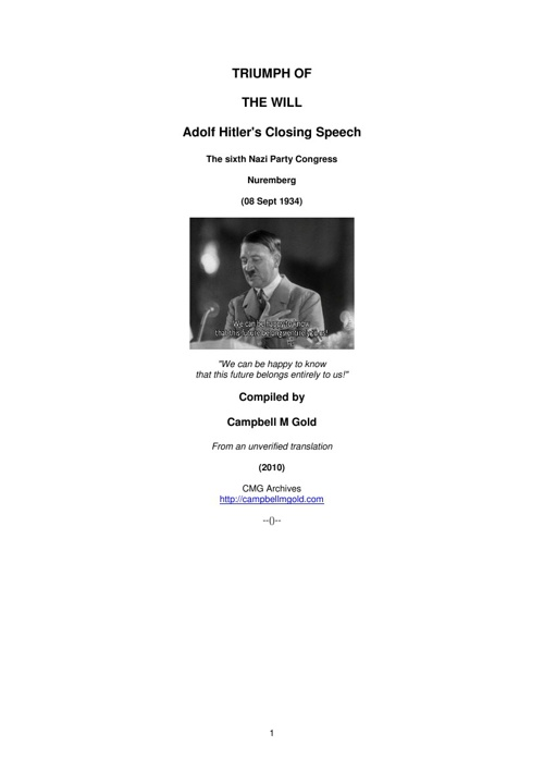"Adolph Hitler's ""Triumph of the Will"" Speech"