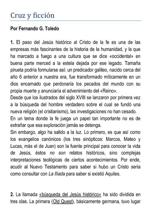 Cruz y ficción (Por Fernando G. Toledo)
