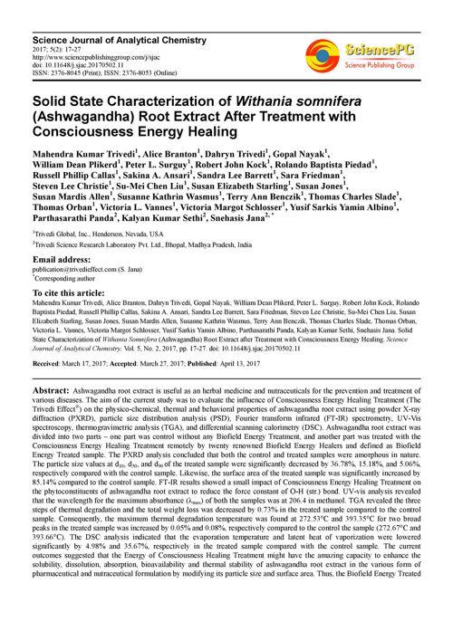 Influence of Healing Treatment on ashwagandha