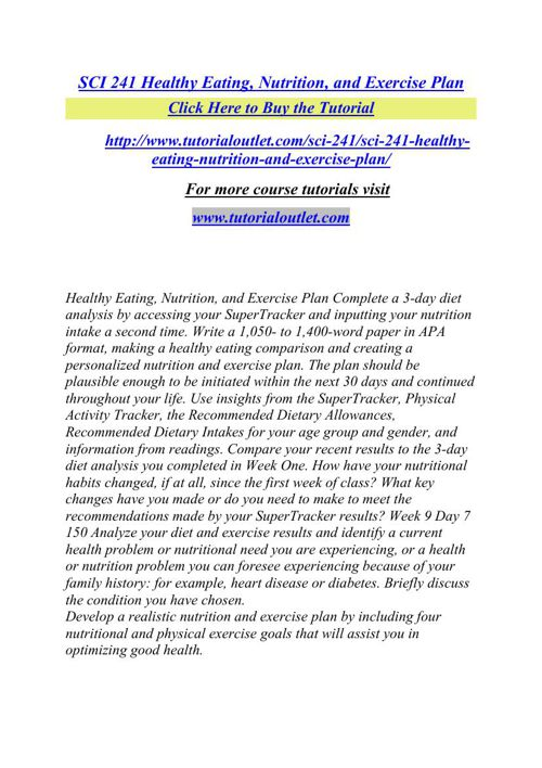 SCI 241 Healthy Eating, Nutrition, and Exercise Plan