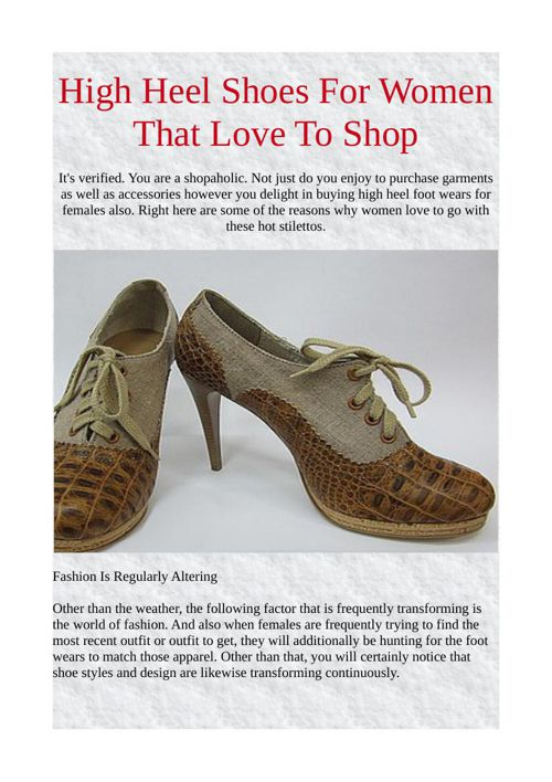 High Heel Shoes For Women That Love To Shop