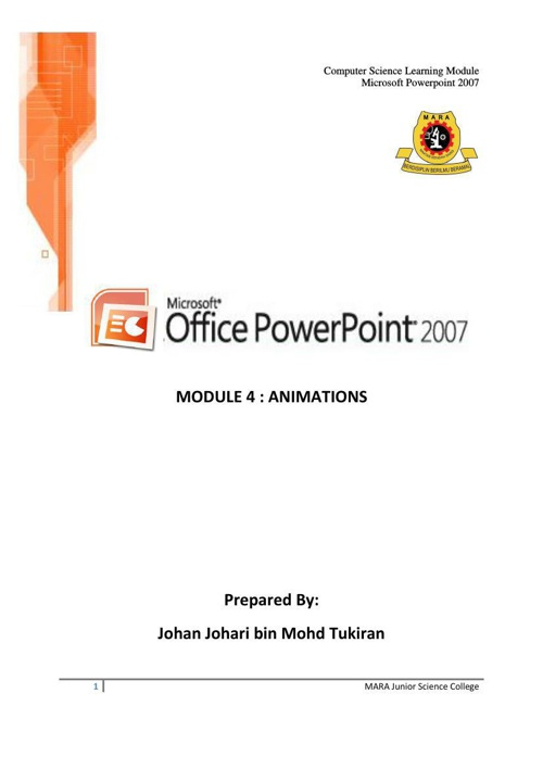 POWERPOINT 2007 - MODUL 4 - ANIMATIONS