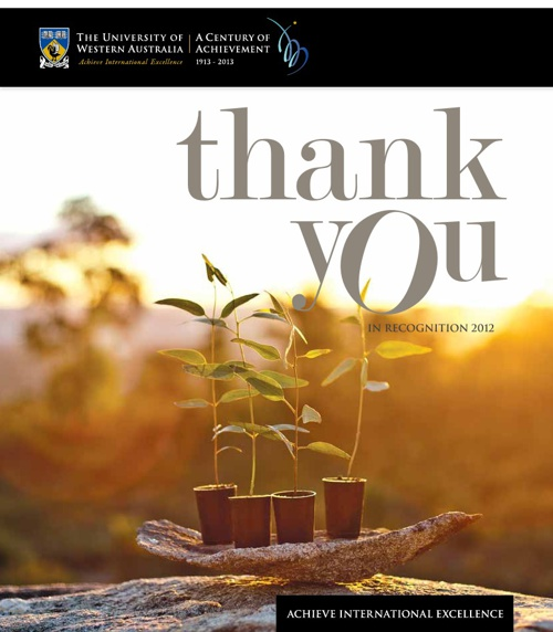 Thank You: In Recognition 2012