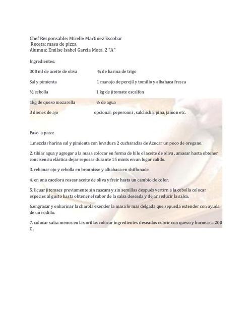 Gastronomia segundo recetario Emilse mota