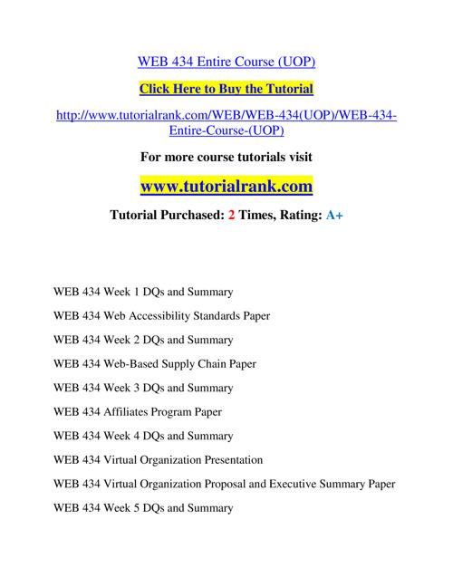 WEB 434 Slingshot Academy / Tutorialrank.Com
