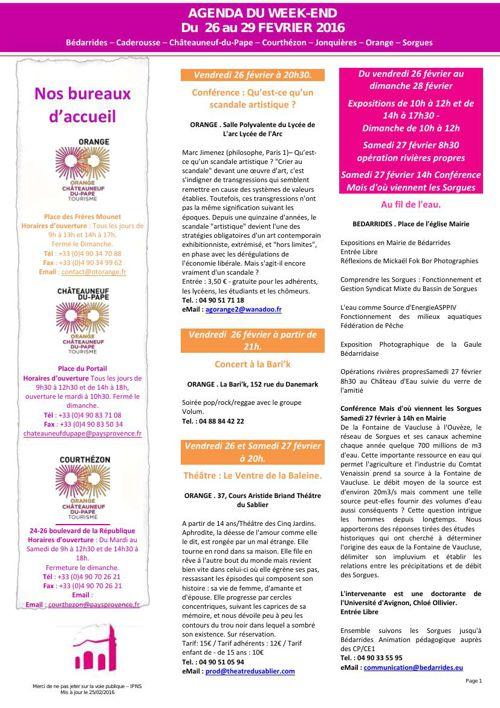 Agenda du week-end 26 au 29 février 2016