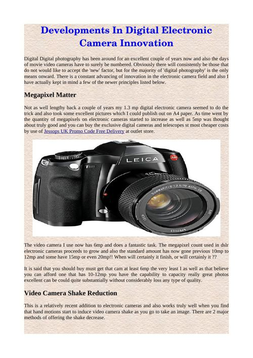 Developments In Digital Electronic Camera Innovation