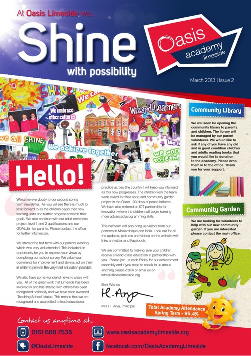 Oasis Academy Limeside Newsletter - Issue 2 - March 2013