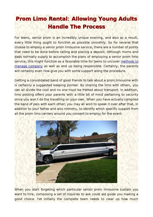 Prom Limo Rental: Allowing Young Adults Handle The Process