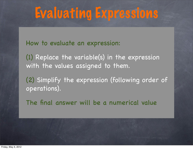 A1.U1.P1 Evaluating Expression Examples