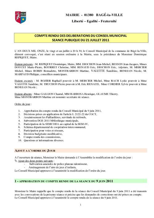 Compte-rendu du conseil municipal séance publique du 21-07-2011
