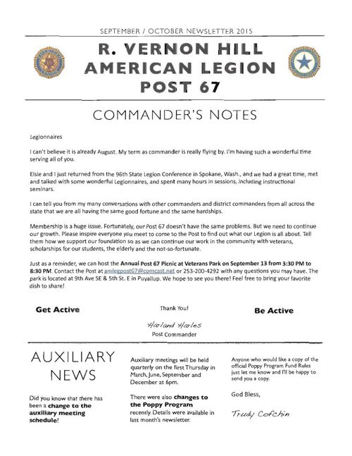American Legion Newsletter (Sept-Oct 2015)