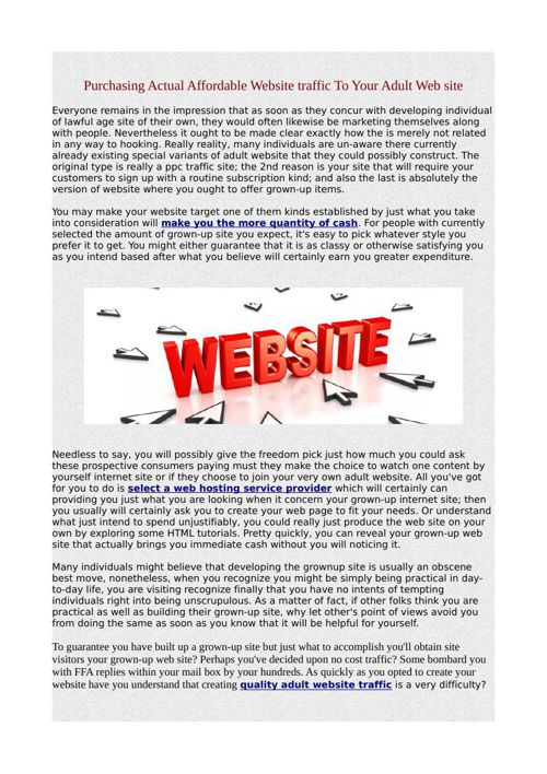 Purchasing Actual Affordable Website traffic To Your Adult Web s