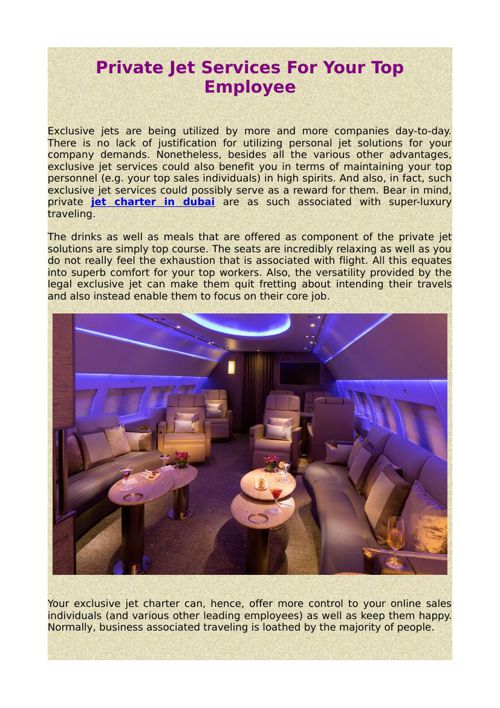 Private Jet Services For Your Top Employee