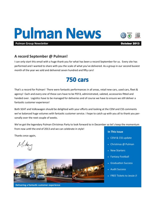 Pulman Group Newsletter October 2013