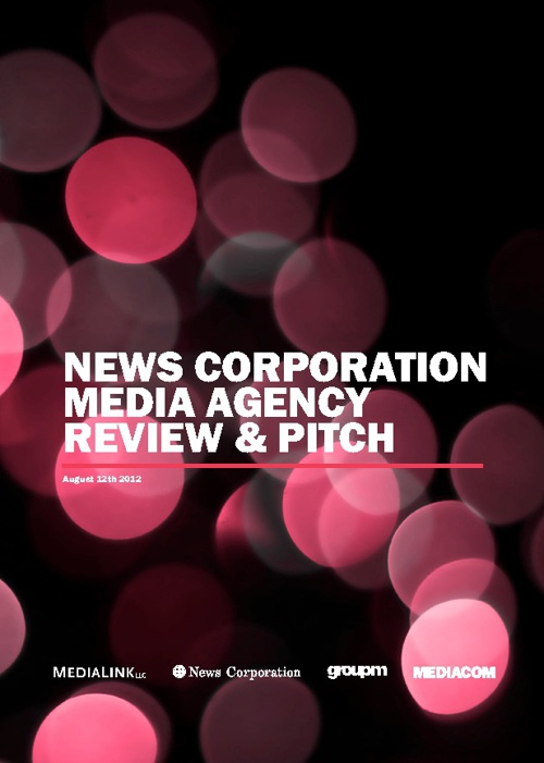 MediaCom News Corp. Media Agency Review and Pitch - August 12th