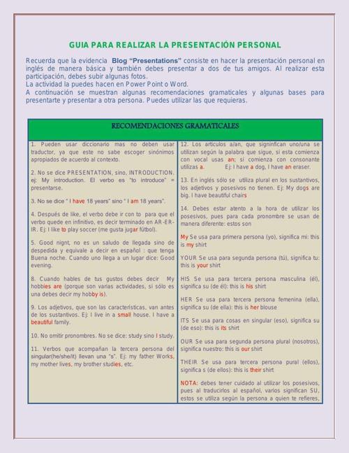 GUIA PARA REALIZAR LA PRESENTACIÓN PERSONAL PDF