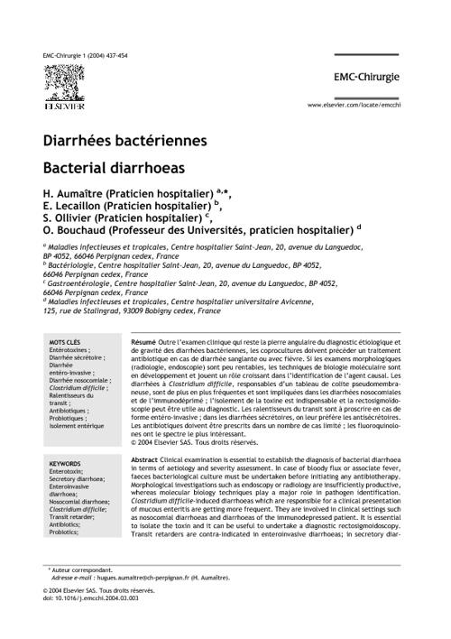 Diarrhées bactériennes - Bacterial diarrhoeas