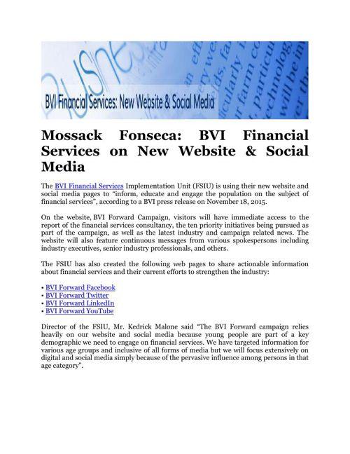 Mossack Fonseca: BVI Financial Services on New Website & Social