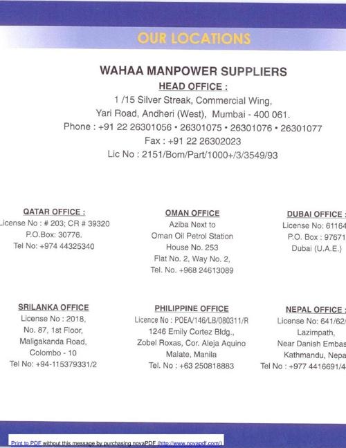 Wahaa Manpowers Supplier - Company Profile