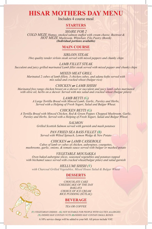 HISAR Mothers Day menu revised