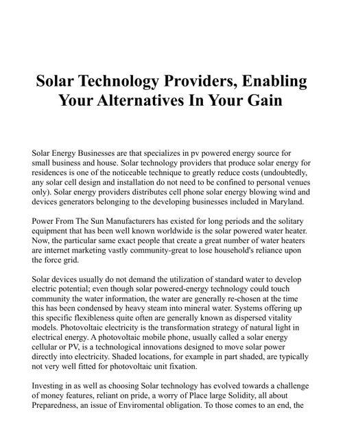 solar funding