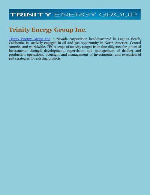 Trinity Energy Group Inc.