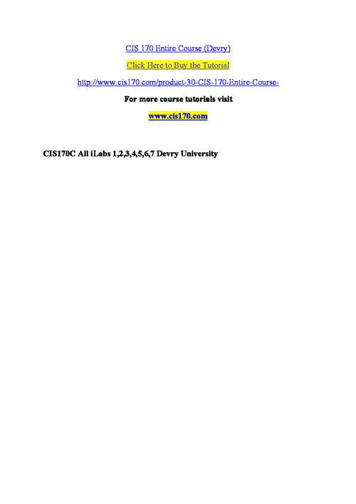 CIS 170 Entire Course (Devry)