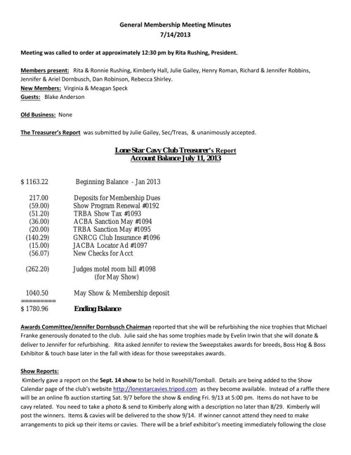 LSCC Minutes for 07/14  /2013