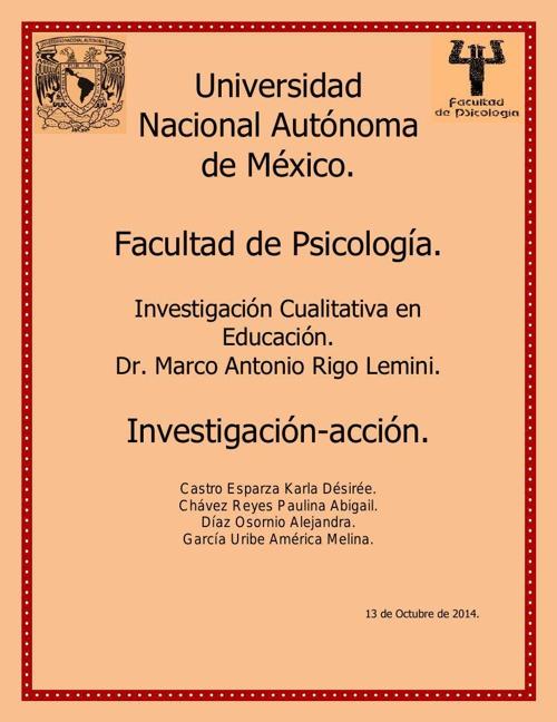 Investigación-acción Chávez, Castro, Díaz y García