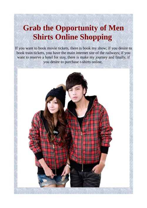 Grab the Opportunity of Men Shirts Online Shopping