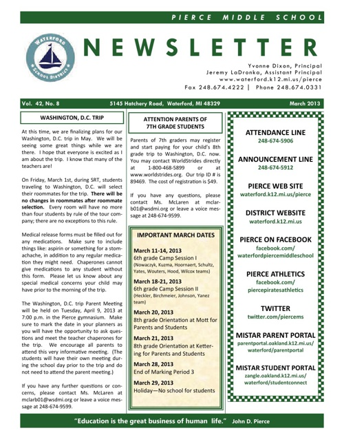 Pierce March 2013 Newsletter