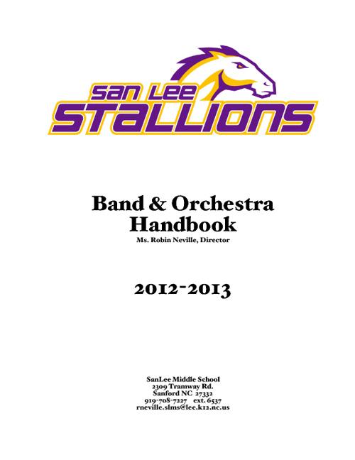 2012-2013 Band and Orchestra Manual