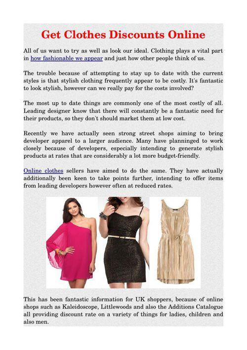 Get Clothes Discounts Online